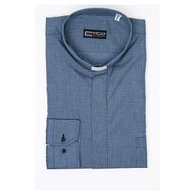Collarhemd mit Langarm aus Baumwoll-Polyester-Mischgewebe einfarbig Jeansblau s3