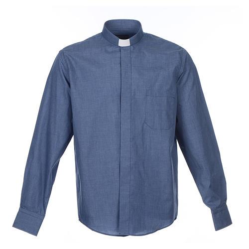 Collarhemd mit Langarm aus Baumwoll-Polyester-Mischgewebe einfarbig Jeansblau 1