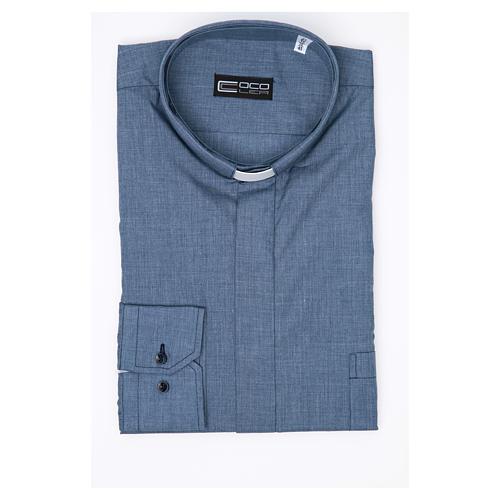 Collarhemd mit Langarm aus Baumwoll-Polyester-Mischgewebe einfarbig Jeansblau 3