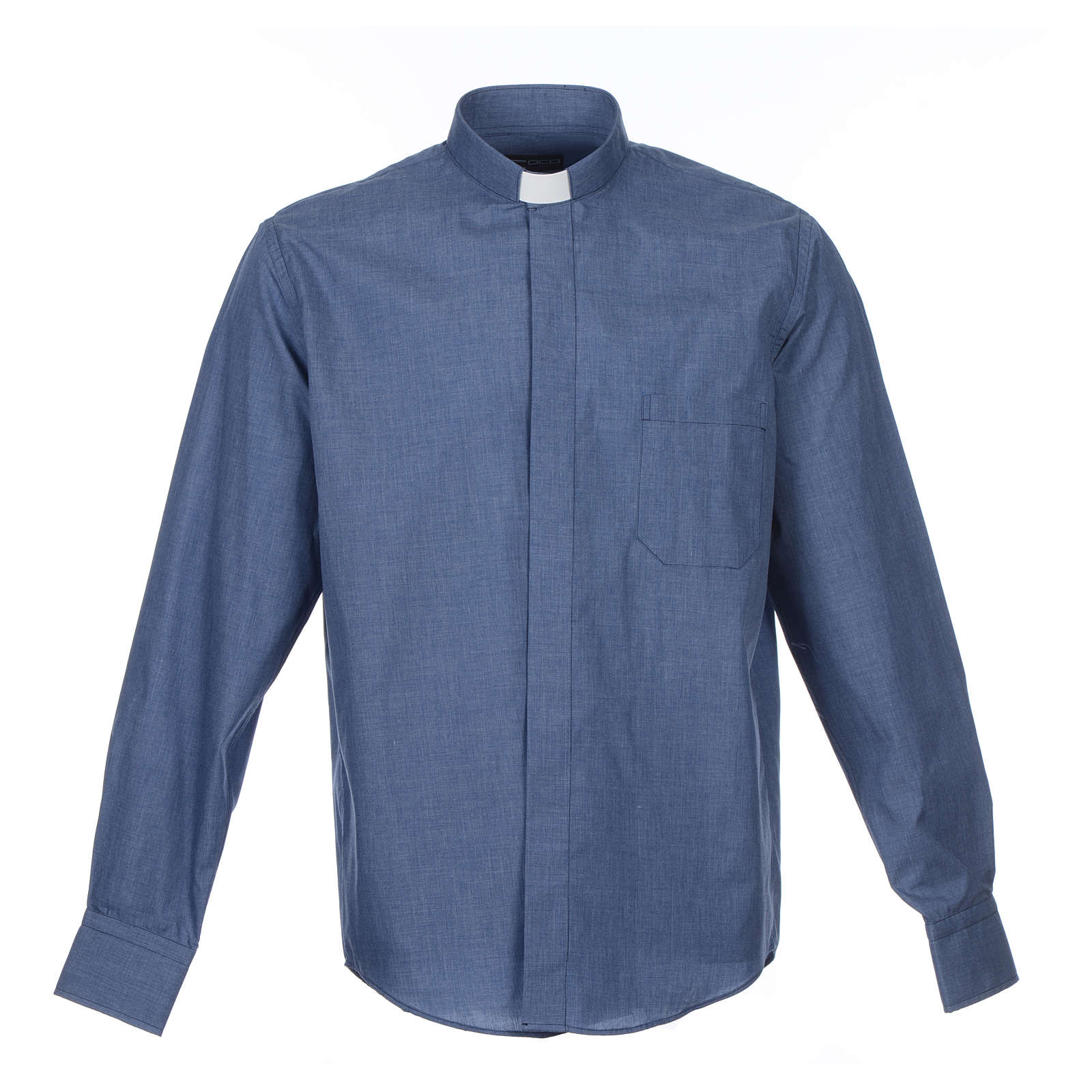 Denim Clergy Shirt long sleeves solid color mixed cotton 4