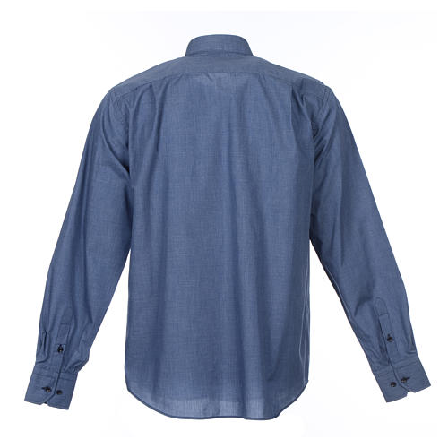 Denim Clergy Shirt long sleeves solid color mixed cotton 2