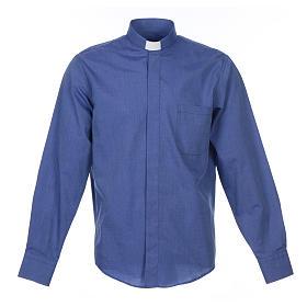 Collarhemd mit Langarm aus Fil-à-Fil-Baumwollmischung in der Farbe Blau s1