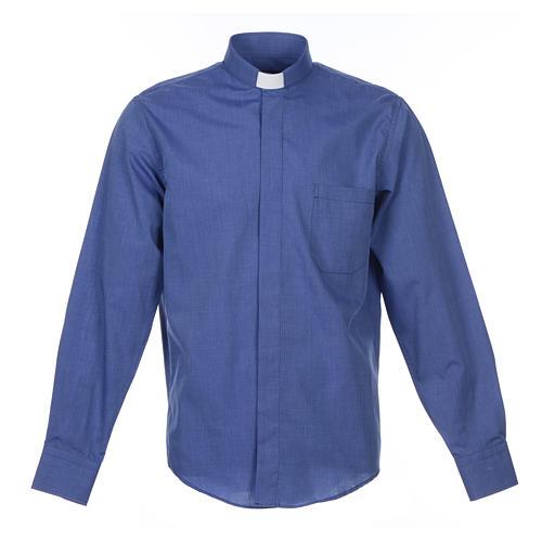 Collarhemd mit Langarm aus Fil-à-Fil-Baumwollmischung in der Farbe Blau 1