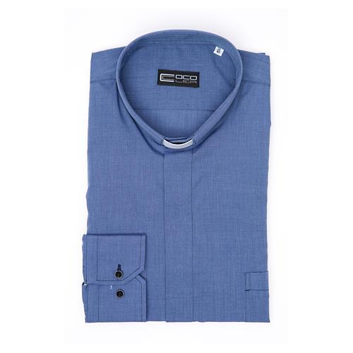 Collarhemd mit Langarm aus Fil-à-Fil-Baumwollmischung in der Farbe Blau 3