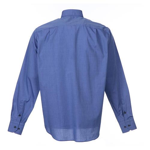 Clerical shirt long sleeves fil-à-fil mixed cotton, blue 2