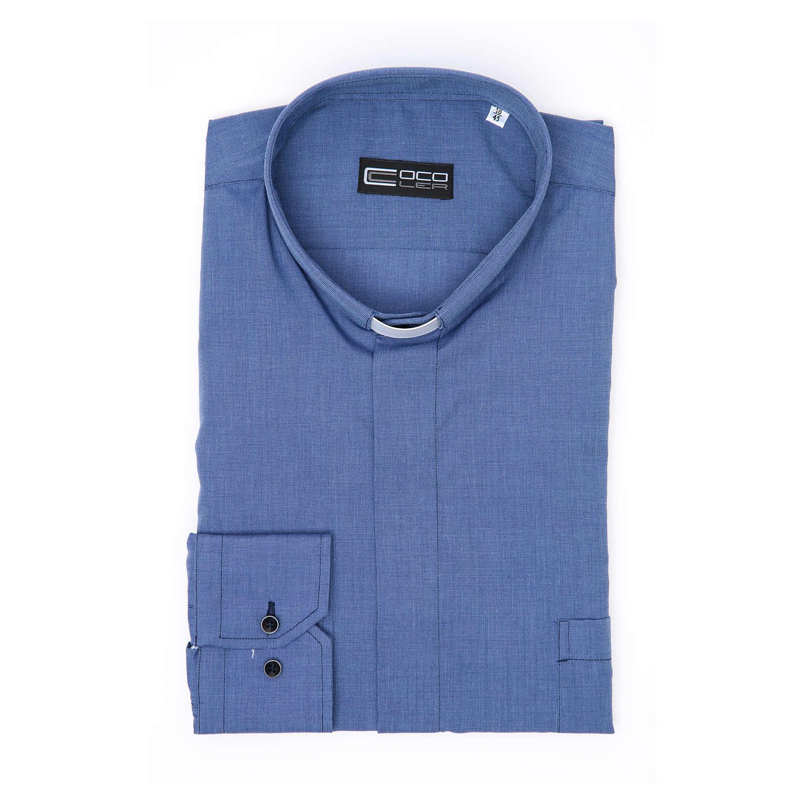 Koszula kapłańska długi rękaw, bawełna mieszana niebieska 4