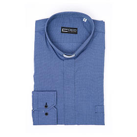 Long-sleeve clergy shirt fil-à-fil mixed cotton, blue s3