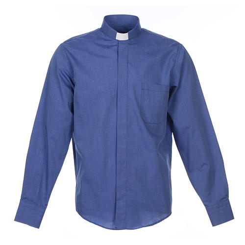 Long-sleeve clergy shirt fil-à-fil mixed cotton, blue 1