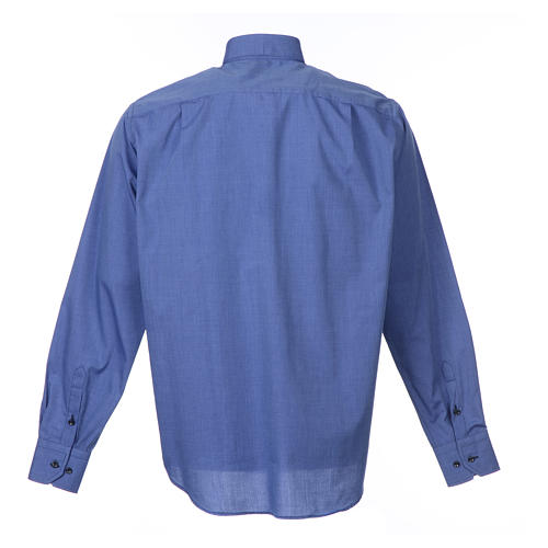 Long-sleeve clergy shirt fil-à-fil mixed cotton, blue 2