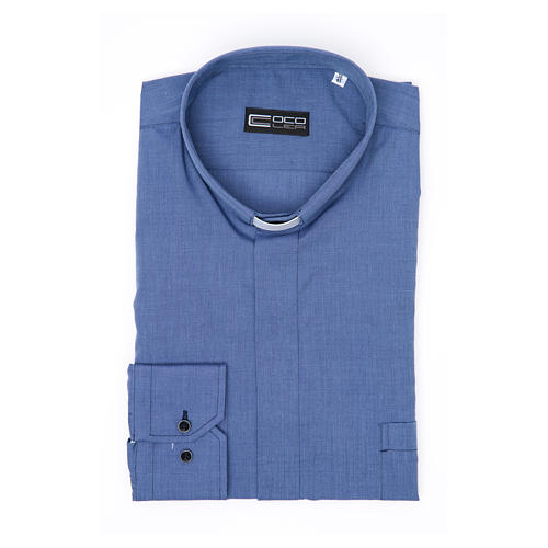 Long-sleeve clergy shirt fil-à-fil mixed cotton, blue 3