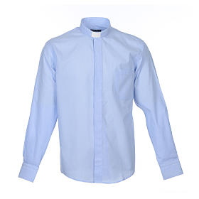 Clerical Shirts and collars: Clergy shirt long sleeves fil-à-fil mixed cotton Light Blue