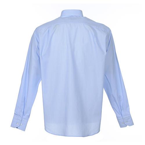 Clergy shirt long sleeves fil-à-fil mixed cotton Light Blue 2