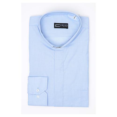 Clergy shirt long sleeves fil-à-fil mixed cotton Light Blue 3