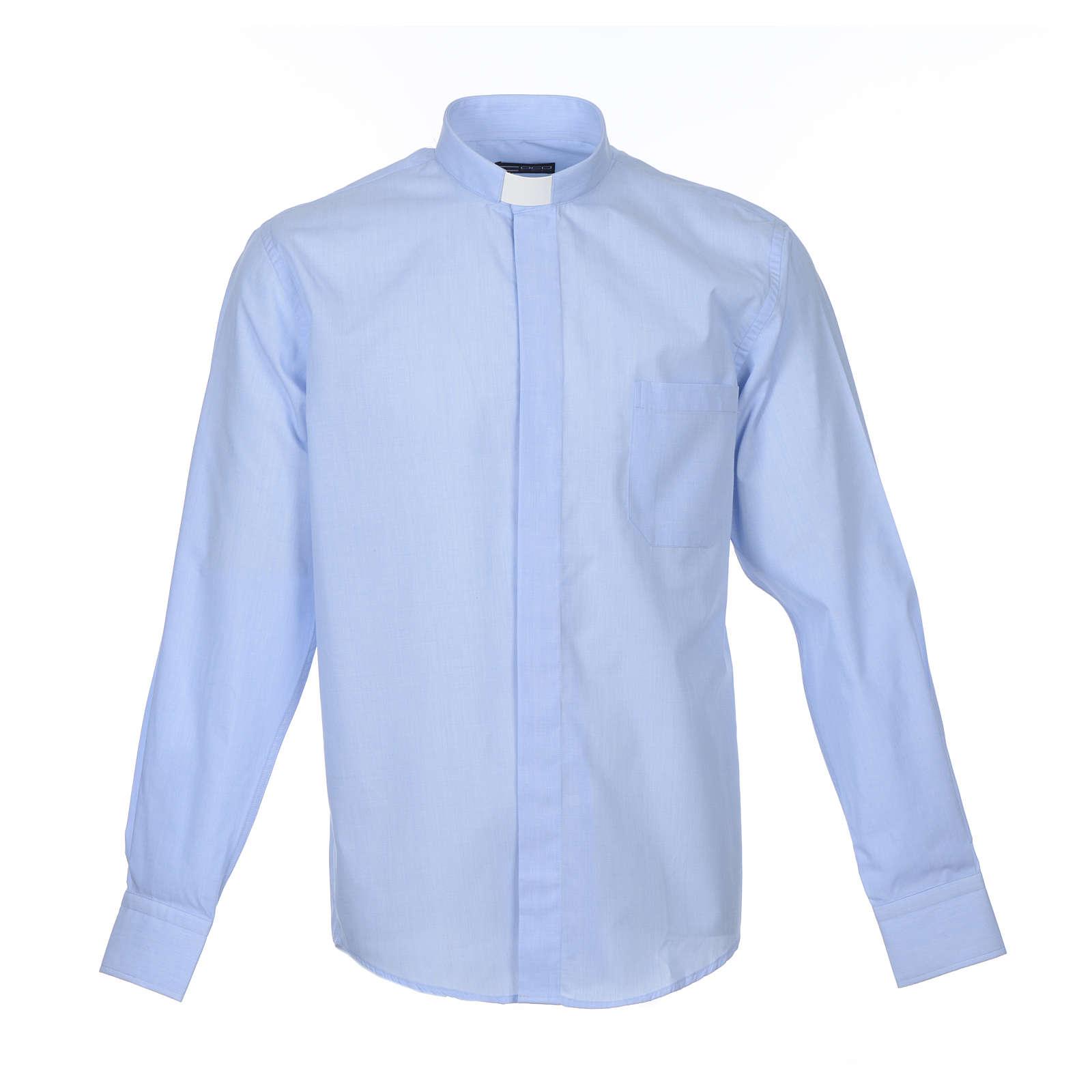 Camicia clergy M. Lunga Filo a Filo misto cotone Celeste 4