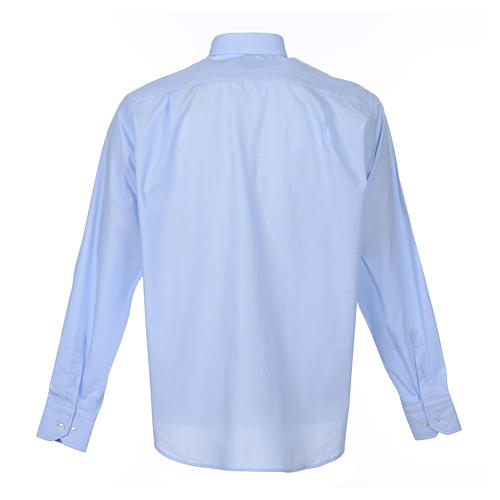 Camicia clergy M. Lunga Filo a Filo misto cotone Celeste 2