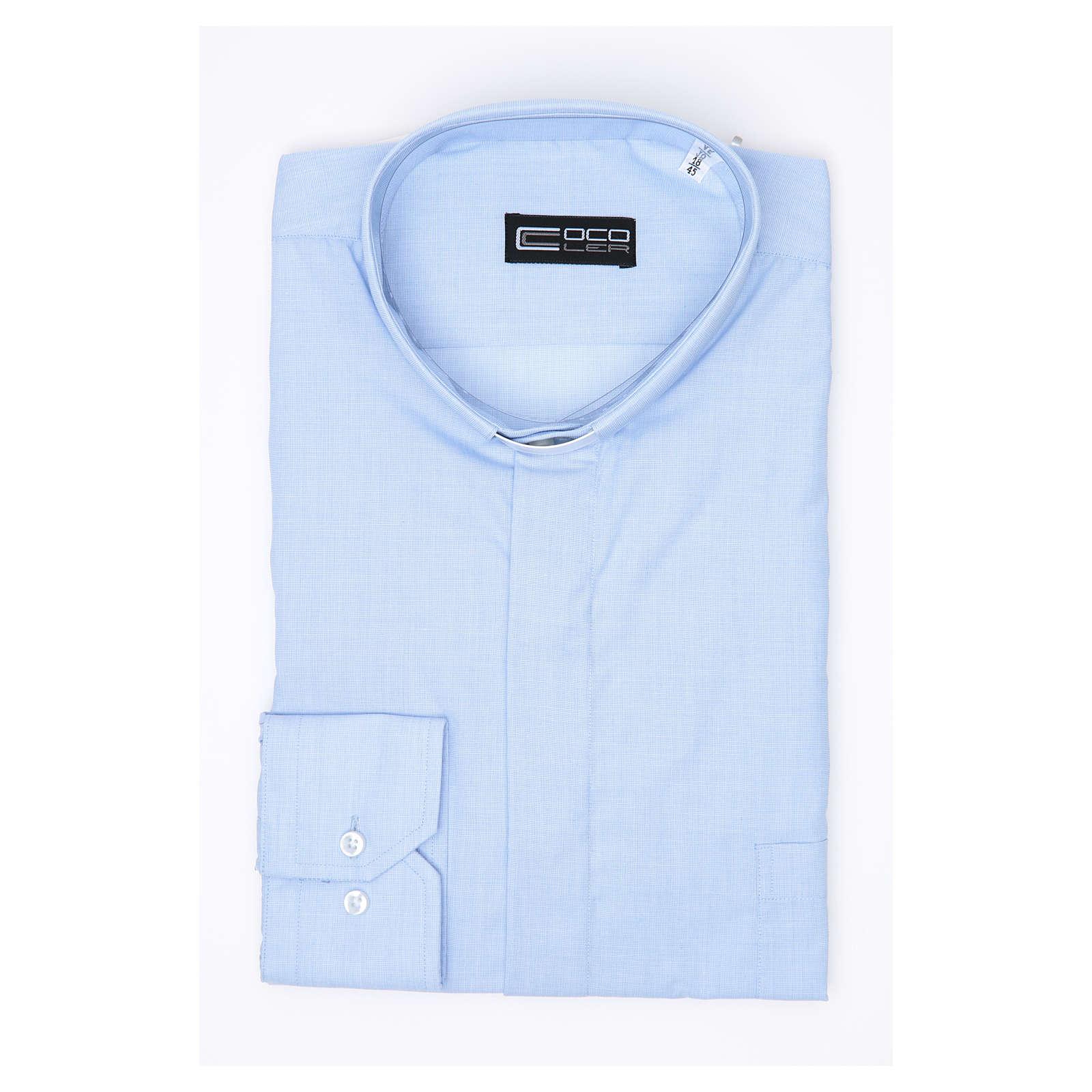 Clergy shirt long sleeves fil-à-fil mixed cotton Light Blue 4