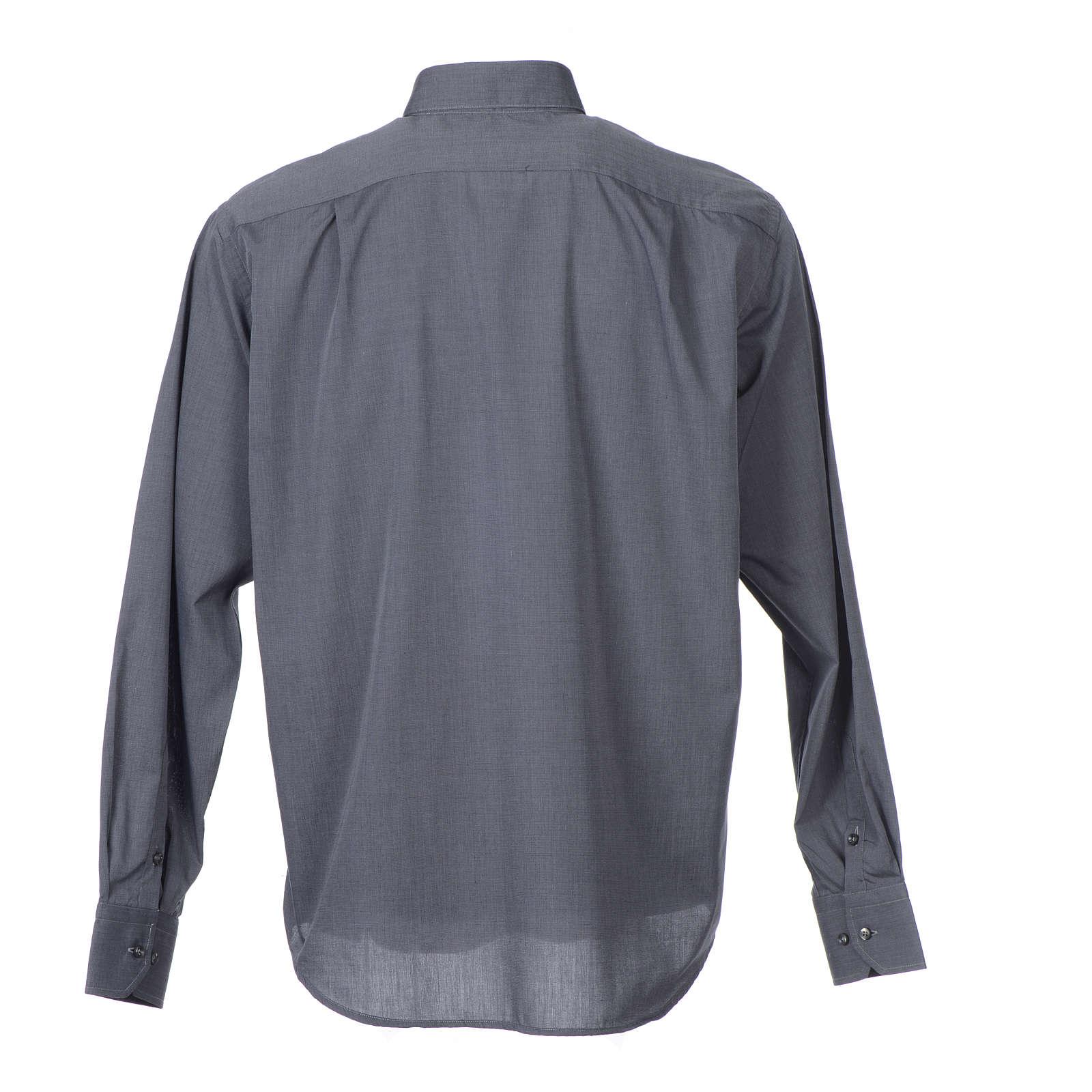 Clerical shirt long sleeves fil-à-fil mixed cotton Grey 4