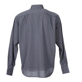 Clerical shirt long sleeves fil-à-fil mixed cotton Grey s2