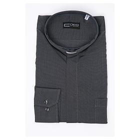 Clerical shirt long sleeves fil-à-fil mixed cotton Grey s3