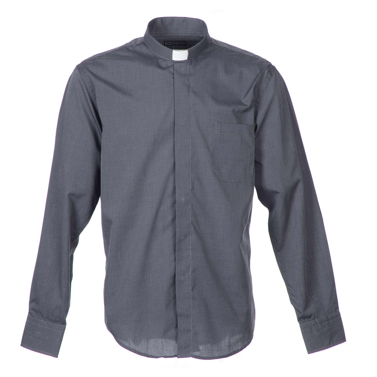 Camisa Clergy Manga Larga Hilo a Hilo, Mixto Algodón Gris 4