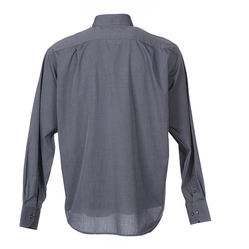 Camisa Clergy Manga Larga Hilo a Hilo, Mixto Algodón Gris 2