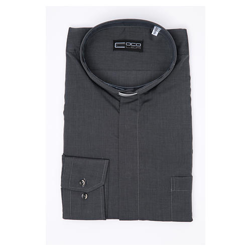 Camisa Clergy Manga Larga Hilo a Hilo, Mixto Algodón Gris 3