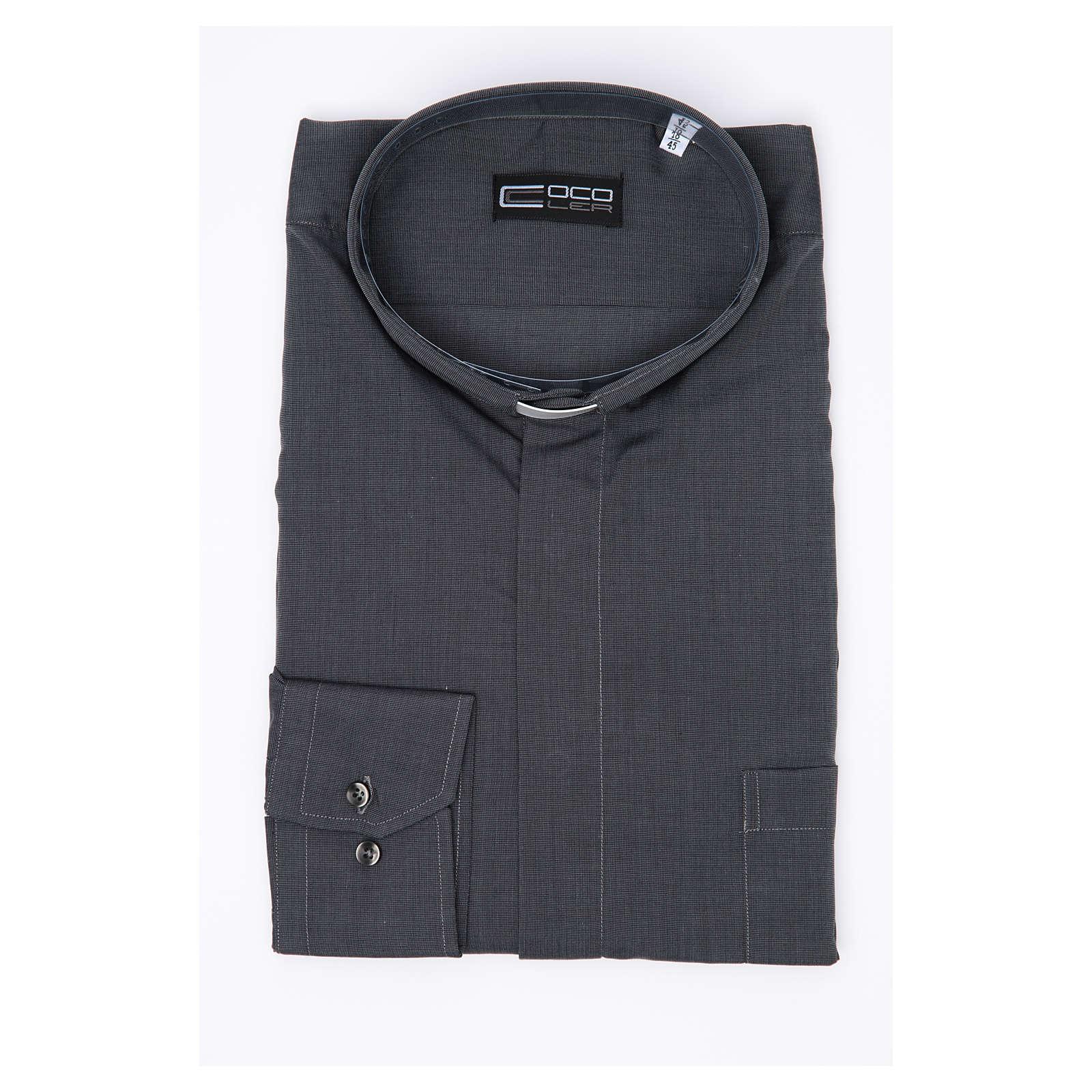 Camicia clergy M. Lunga Filo a Filo misto cotone  Grigio 4