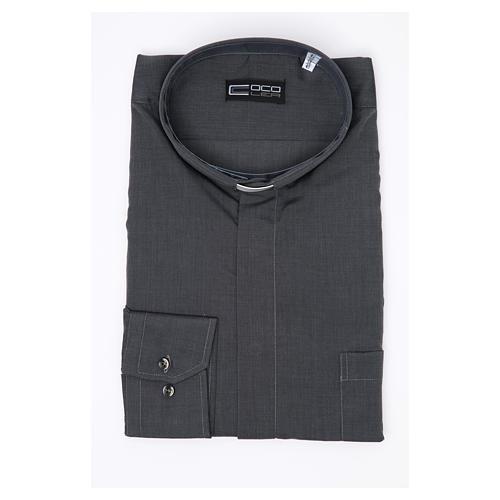 Camisa clergy M/L filafil misto algodão cinzento 3