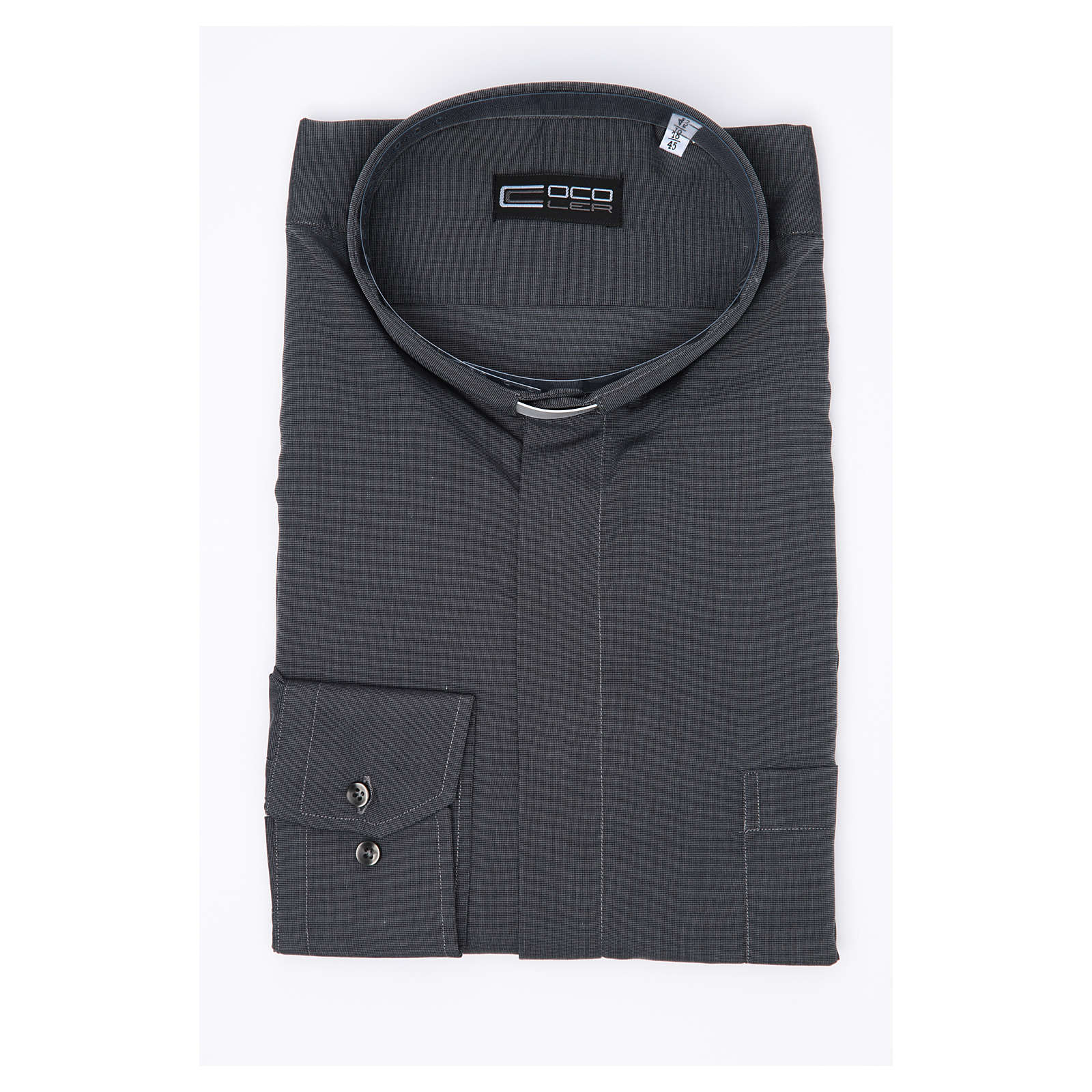 Clergy shirt long sleeves fil-à-fil mixed cotton Grey 4