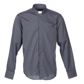 Clergy shirt long sleeves fil-à-fil mixed cotton Grey s1