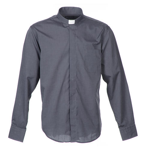 Clergy shirt long sleeves fil-à-fil mixed cotton Grey 1