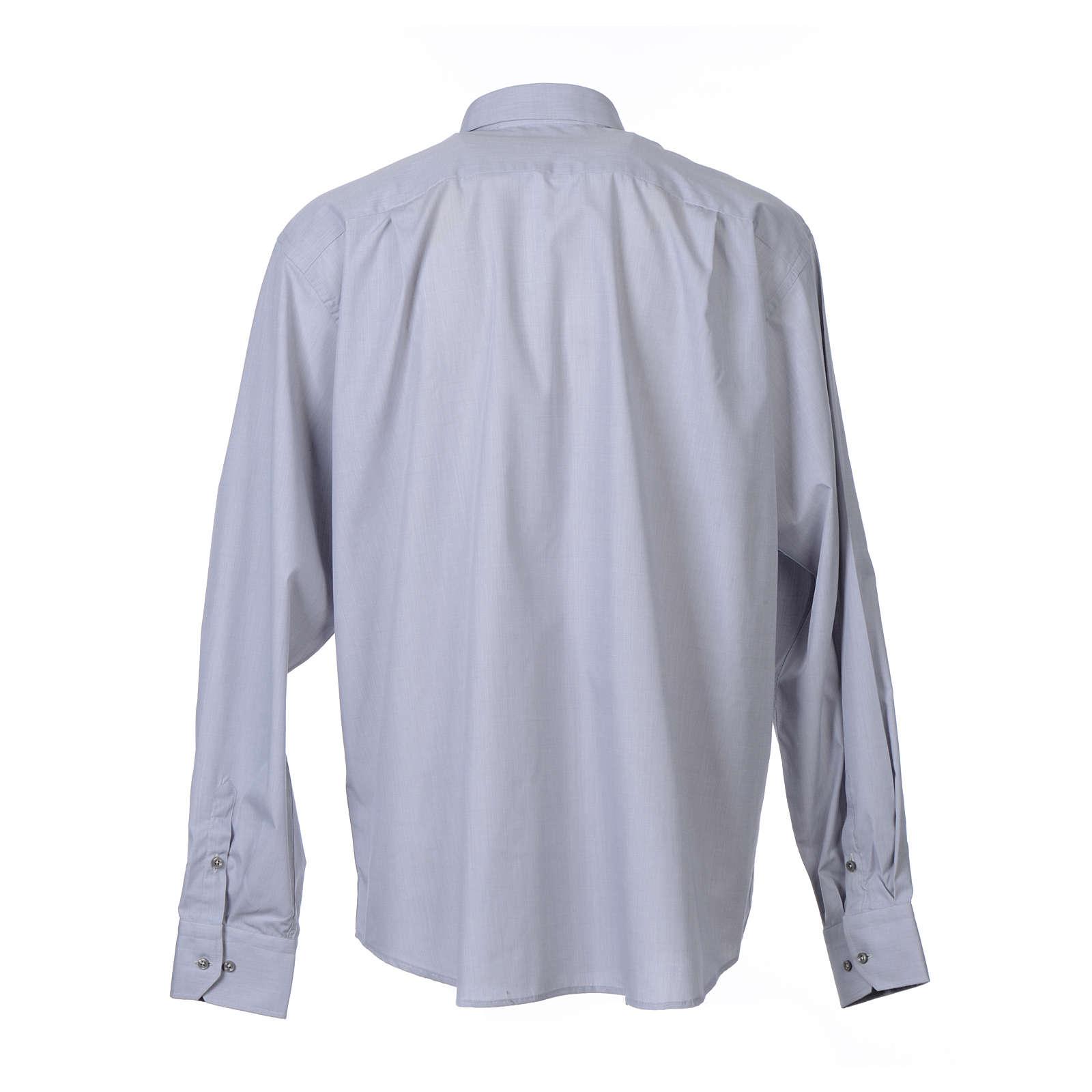 Collarhemd mit Langarm aus Fil-à-Fil-Baumwollmischung in der Farbe Hellgrau 4