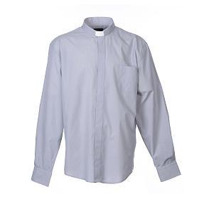 Collarhemd mit Langarm aus Fil-à-Fil-Baumwollmischung in der Farbe Hellgrau s1
