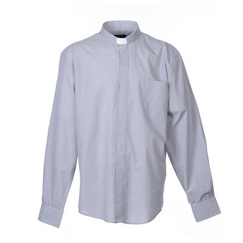 Collarhemd mit Langarm aus Fil-à-Fil-Baumwollmischung in der Farbe Hellgrau 1