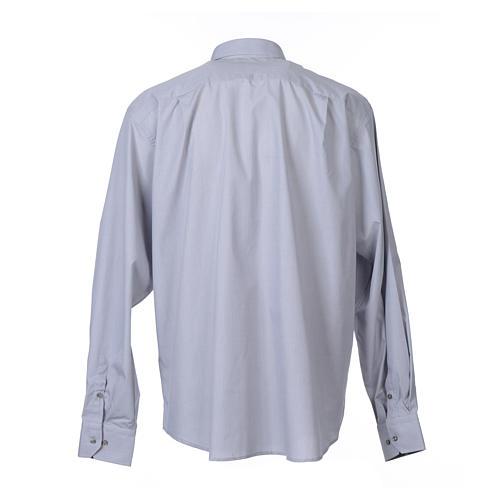 Collarhemd mit Langarm aus Fil-à-Fil-Baumwollmischung in der Farbe Hellgrau 2