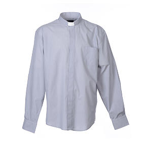 Clergy shirt long sleeves fil-à-fil mixed cotton Light Grey s1
