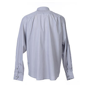 Clergy shirt long sleeves fil-à-fil mixed cotton Light Grey s2