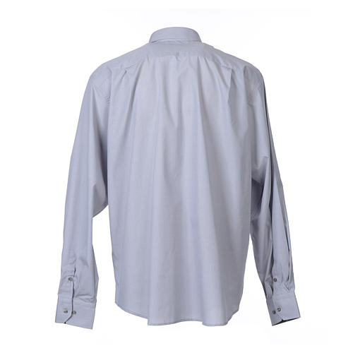 Clergy shirt long sleeves fil-à-fil mixed cotton Light Grey 2