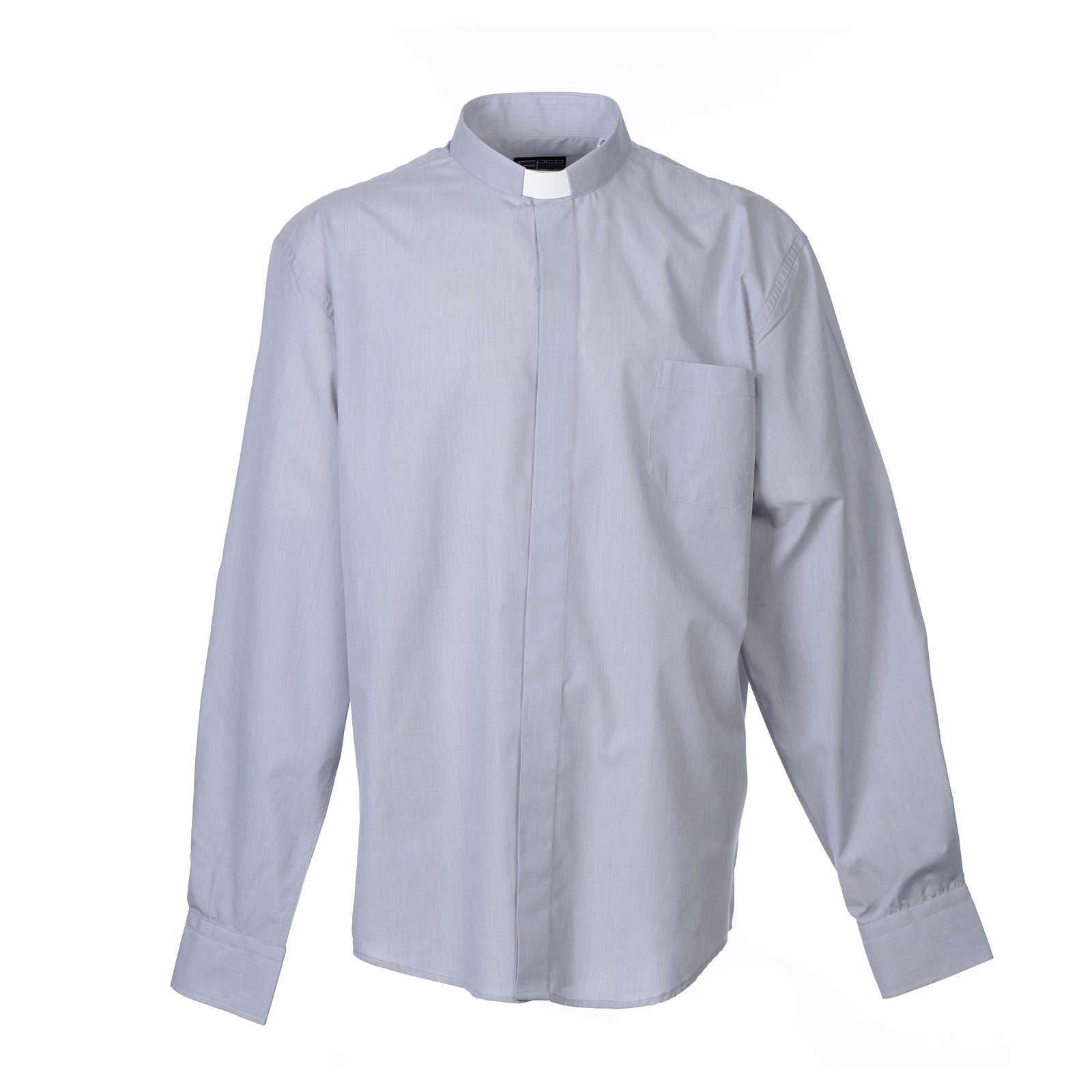 Camisa Clergy Manga Larga Hilo a Hilo, Mixto Algodón Gris Claro 4