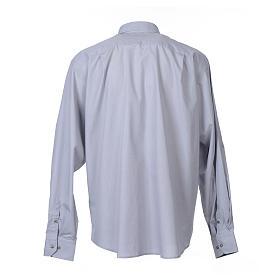 Camisa Clergy Manga Larga Hilo a Hilo, Mixto Algodón Gris Claro s2