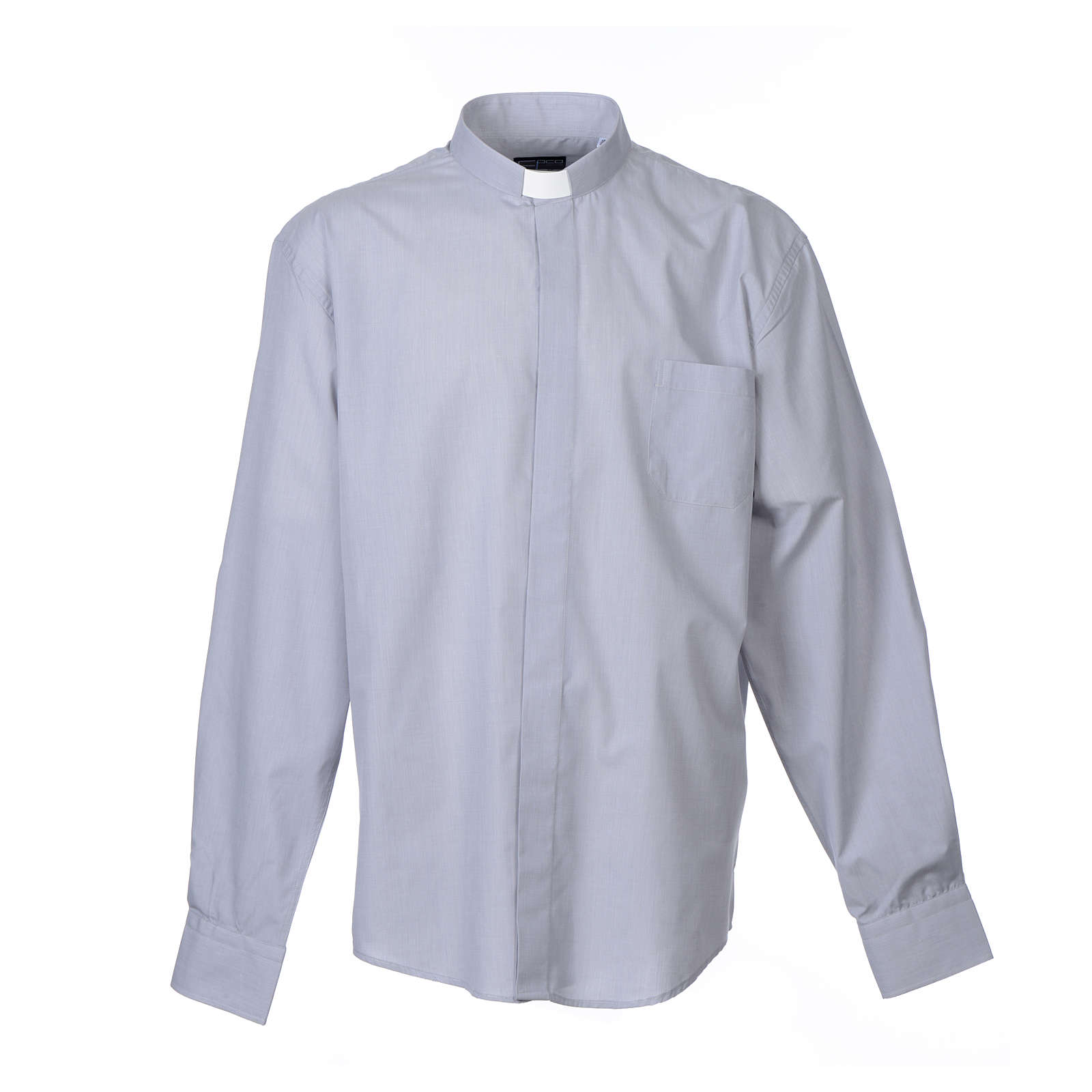 Clerical Chambray Shirt light grey long sleeve, mixed cotton 4