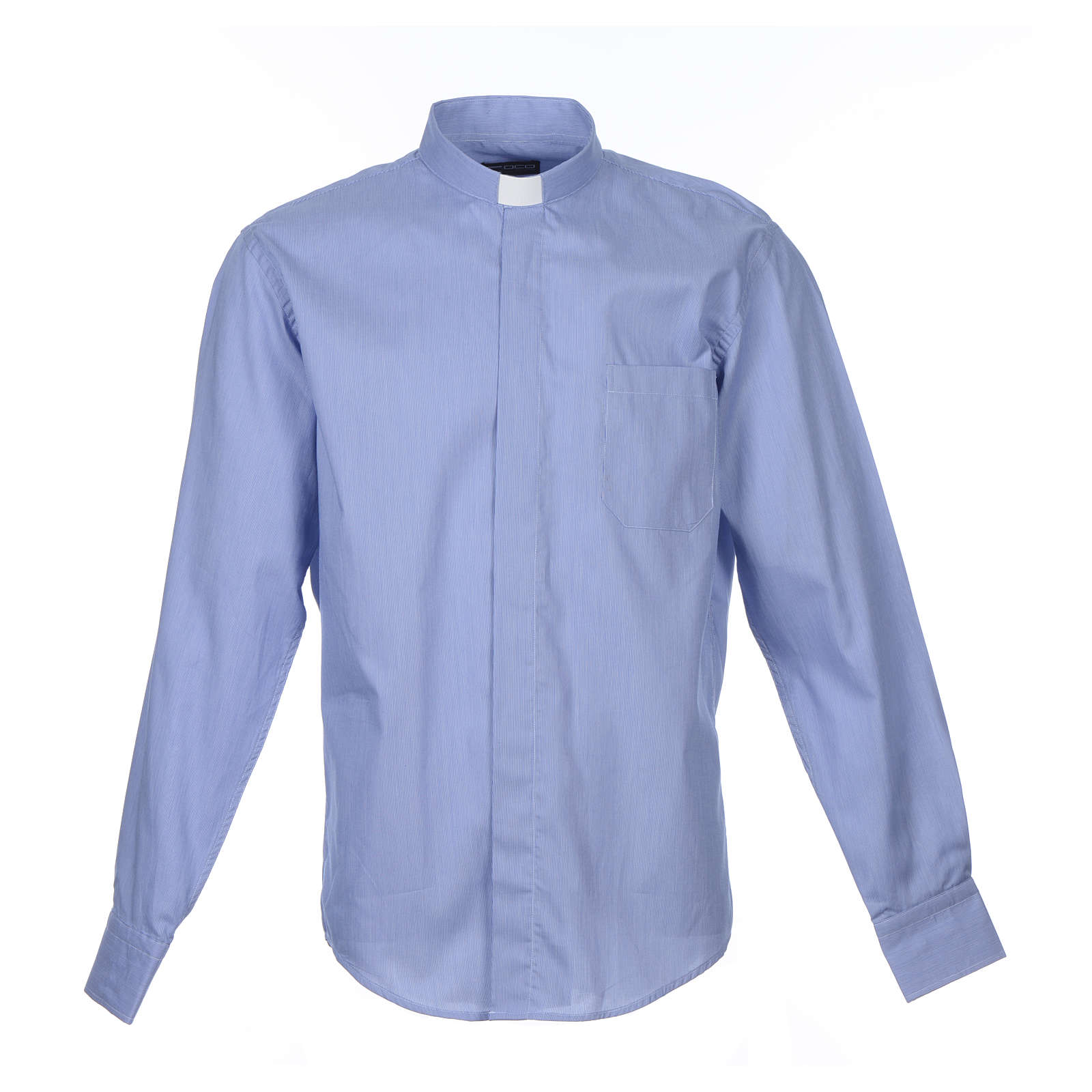 Blue clerical shirt pure cotton, long sleeve, Prestige line 4