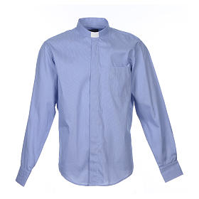 Clerical Shirts and collars: Blue clerical shirt pure cotton, long sleeve, Prestige line