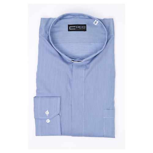 Blue clerical shirt pure cotton, long sleeve, Prestige line 3