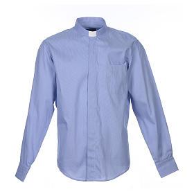 Camicia clergy M. Lunga Linea Prestige Puro Cotone Blu s1