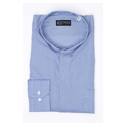 Camicia clergy M. Lunga Linea Prestige Puro Cotone Blu 3