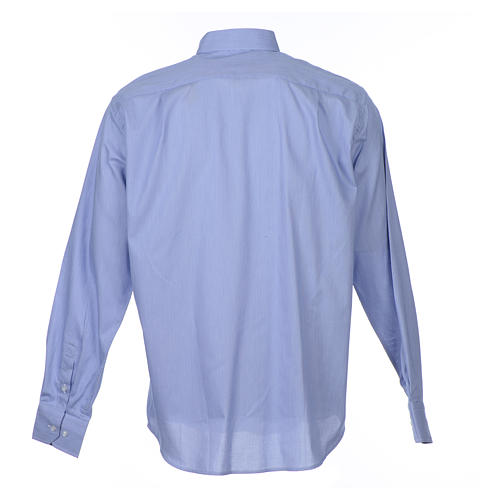 Clergy shirt long sleeves Prestige Line pure cotton Blue 2