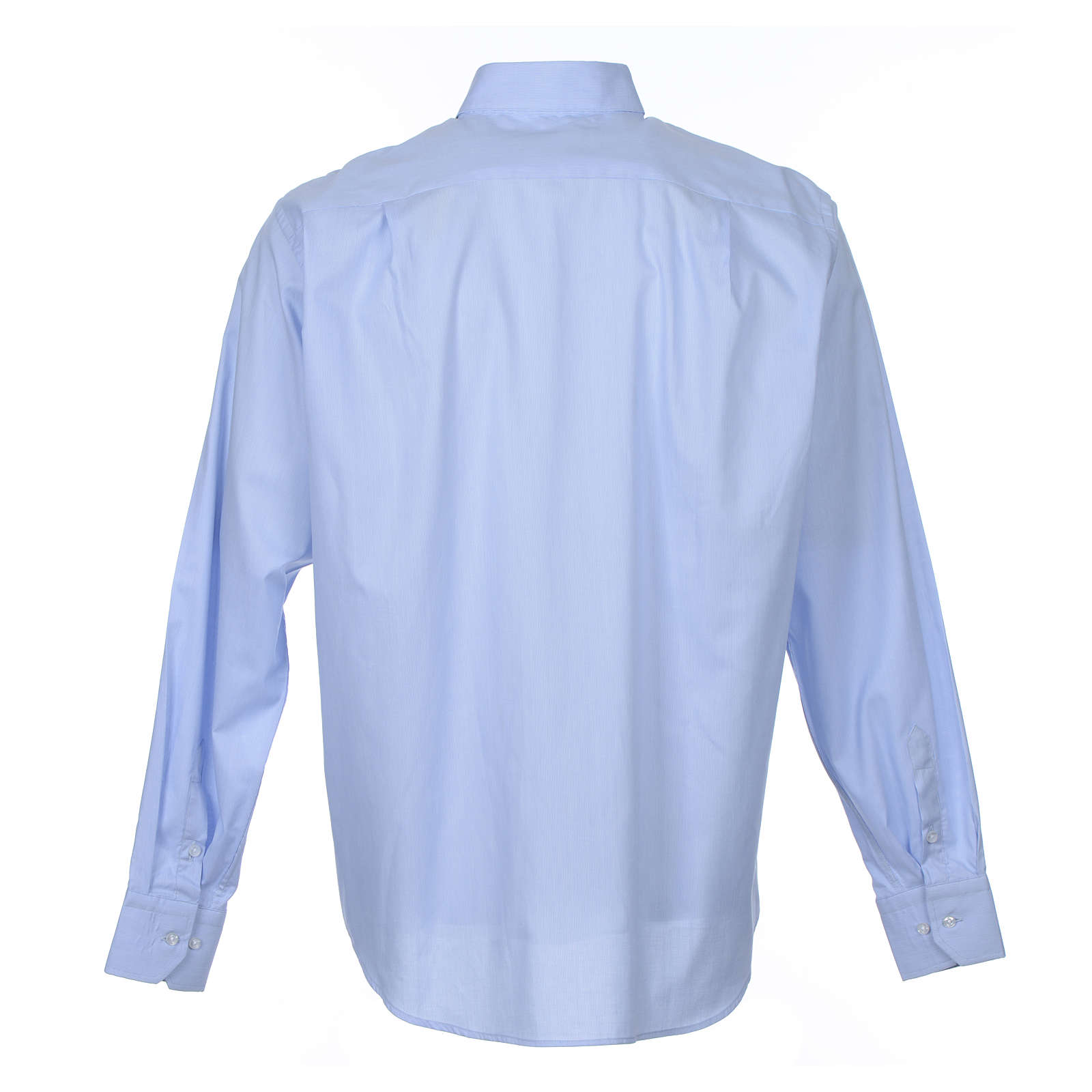 Clergy shirt long sleeves Prestige Line mixed cotton Light Blue 4