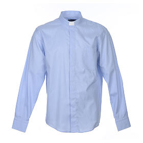 Clergy shirt long sleeves Prestige Line mixed cotton Light Blue s1