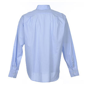 Clergy shirt long sleeves Prestige Line mixed cotton Light Blue s2